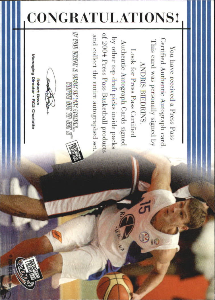 2004 Press Pass Autographs #3 Andris Biedrins back image