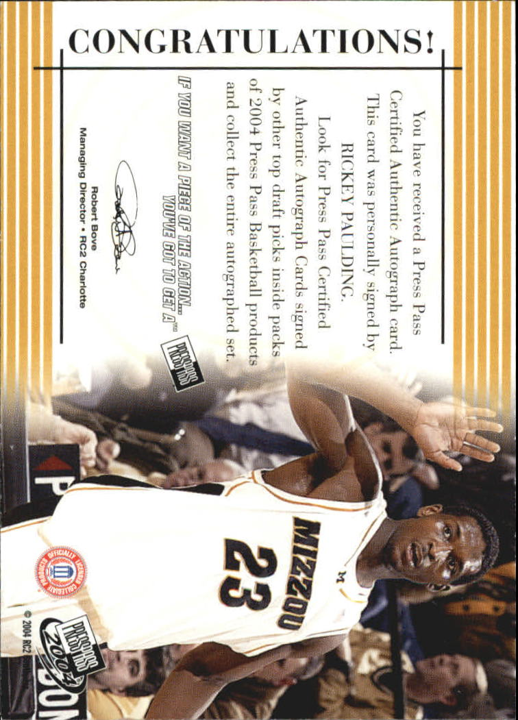 2004 Press Pass Autographs #24 Rickey Paulding back image