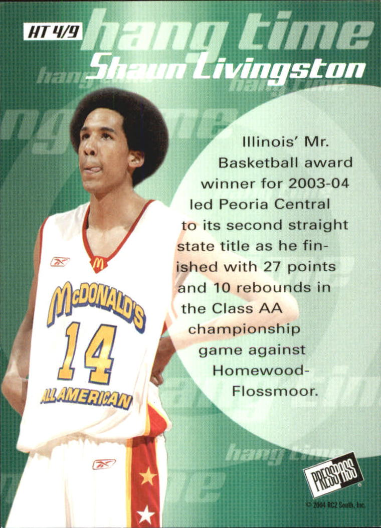 2004 Press Pass Hang Time #4 Shaun Livingston back image