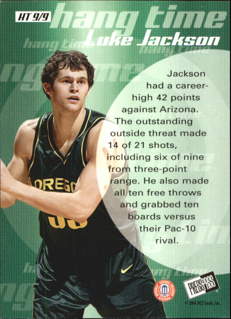 2004 Press Pass Hang Time #9 Luke Jackson back image
