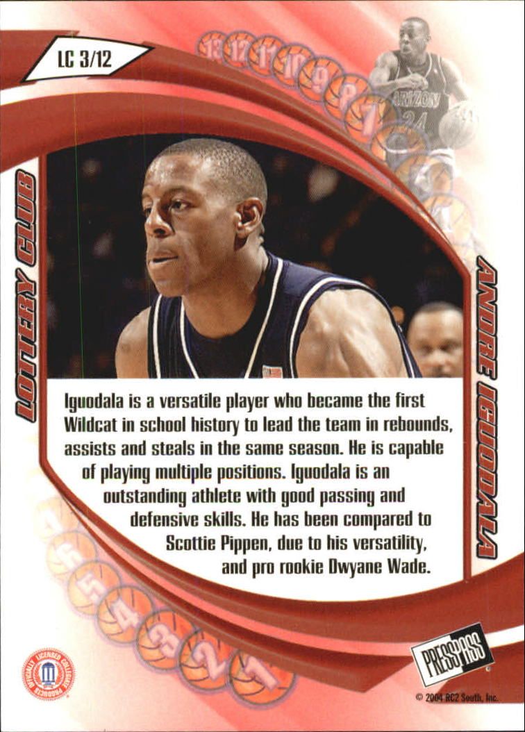 2004 Press Pass Lottery Club #3 Andre Iguodala back image