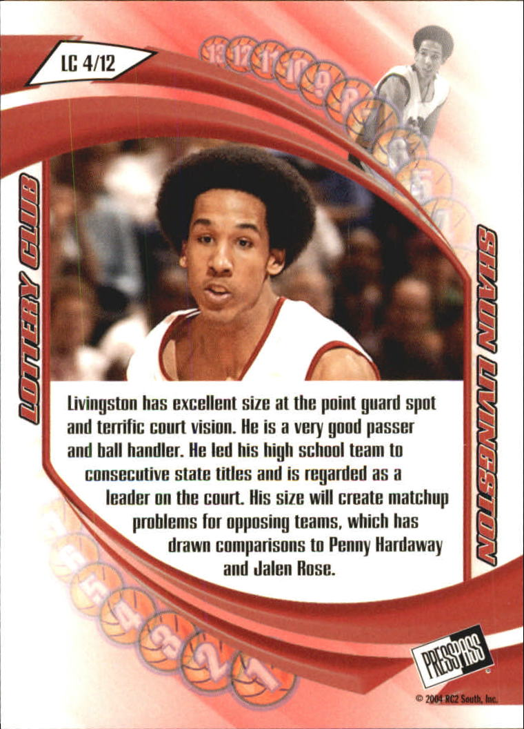 2004 Press Pass Lottery Club #4 Shaun Livingston back image