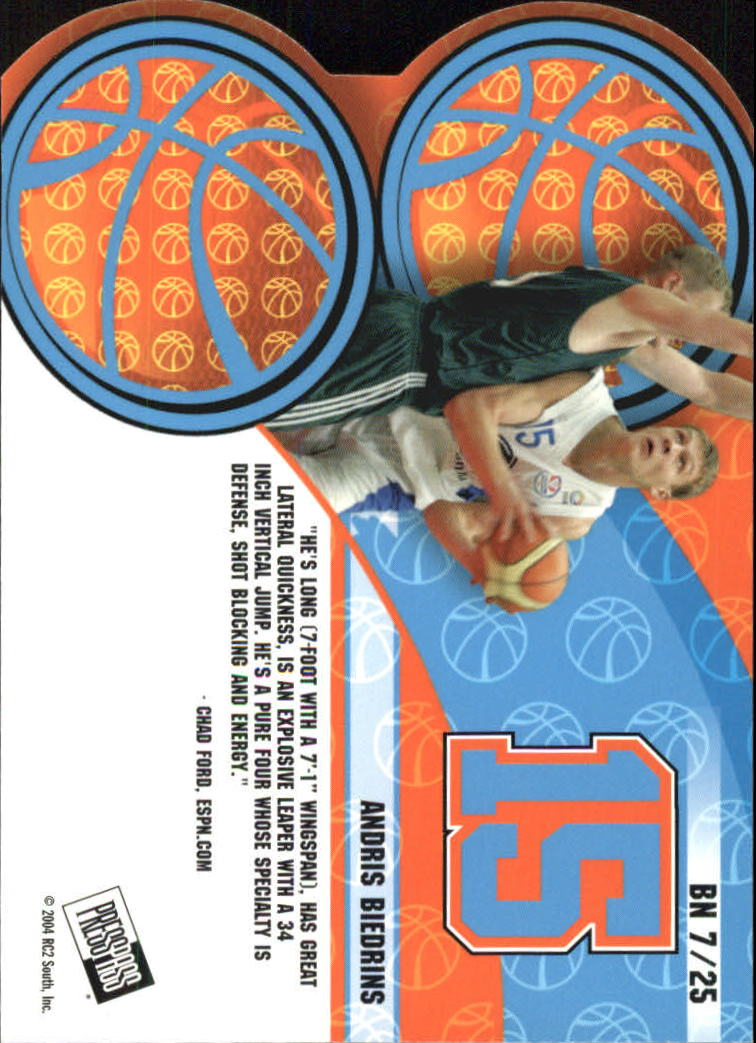 2004 Press Pass Big Numbers #7 Andris Biedrins back image
