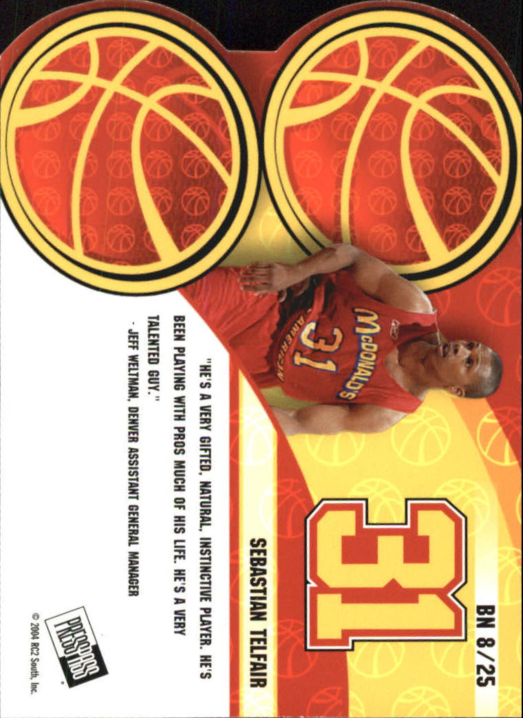 2004 Press Pass Big Numbers #8 Sebastian Telfair back image