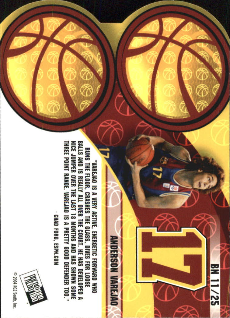 2004 Press Pass Big Numbers #11 Anderson Varejao back image