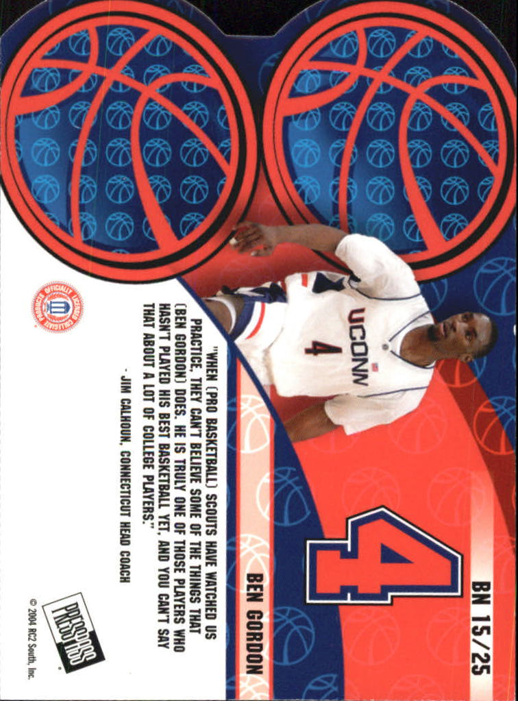 2004 Press Pass Big Numbers #15 Ben Gordon back image