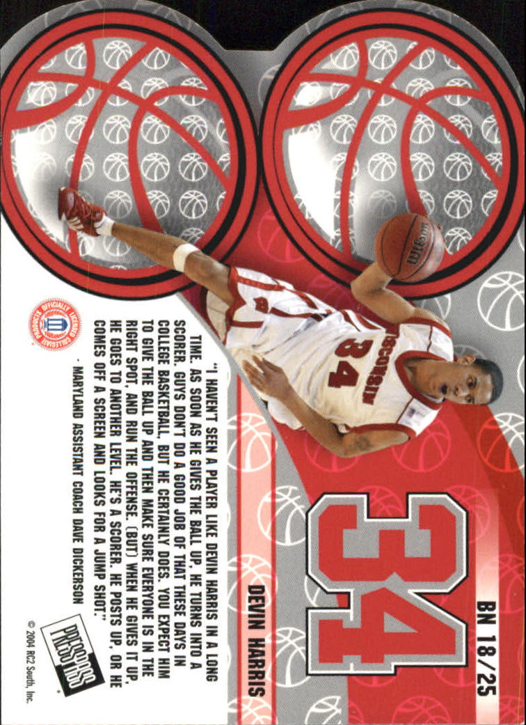 2004 Press Pass Big Numbers #18 Devin Harris back image