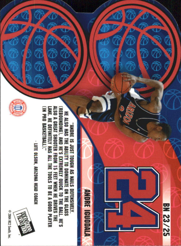 2004 Press Pass Big Numbers #23 Andre Iguodala back image