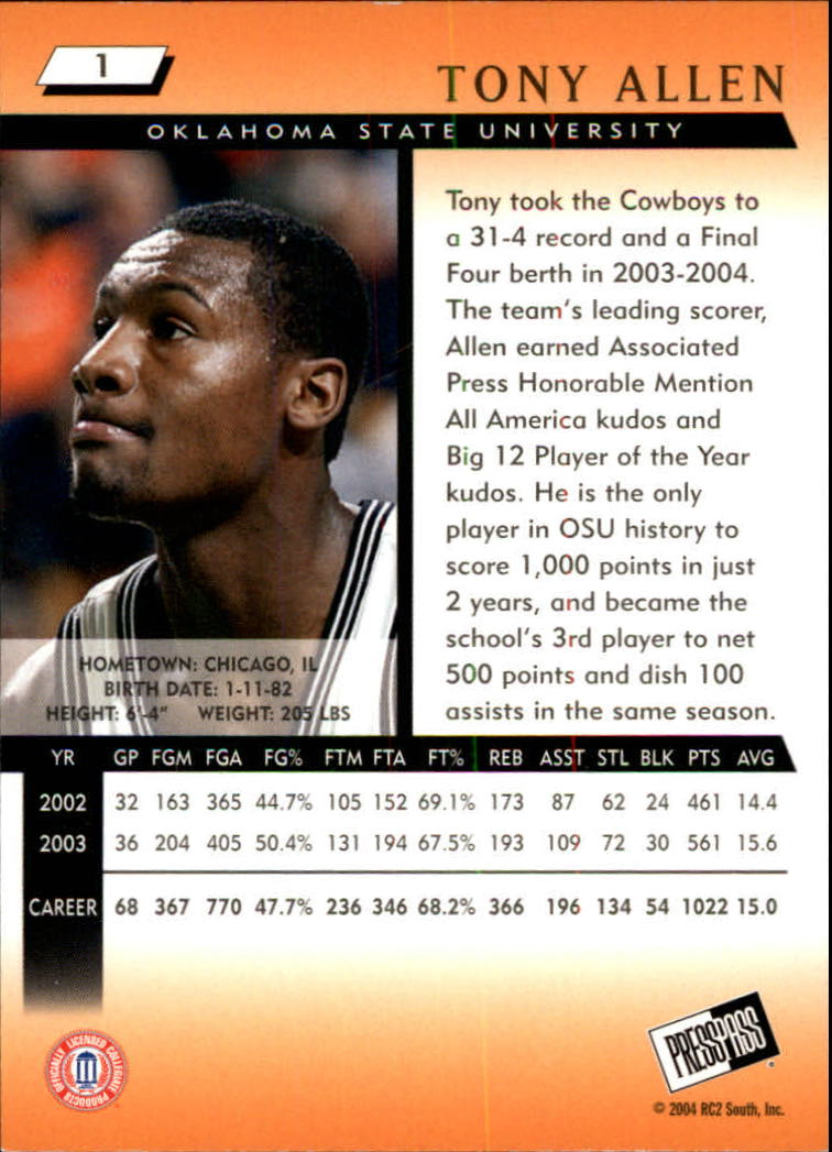 2004 Press Pass #1 Tony Allen back image