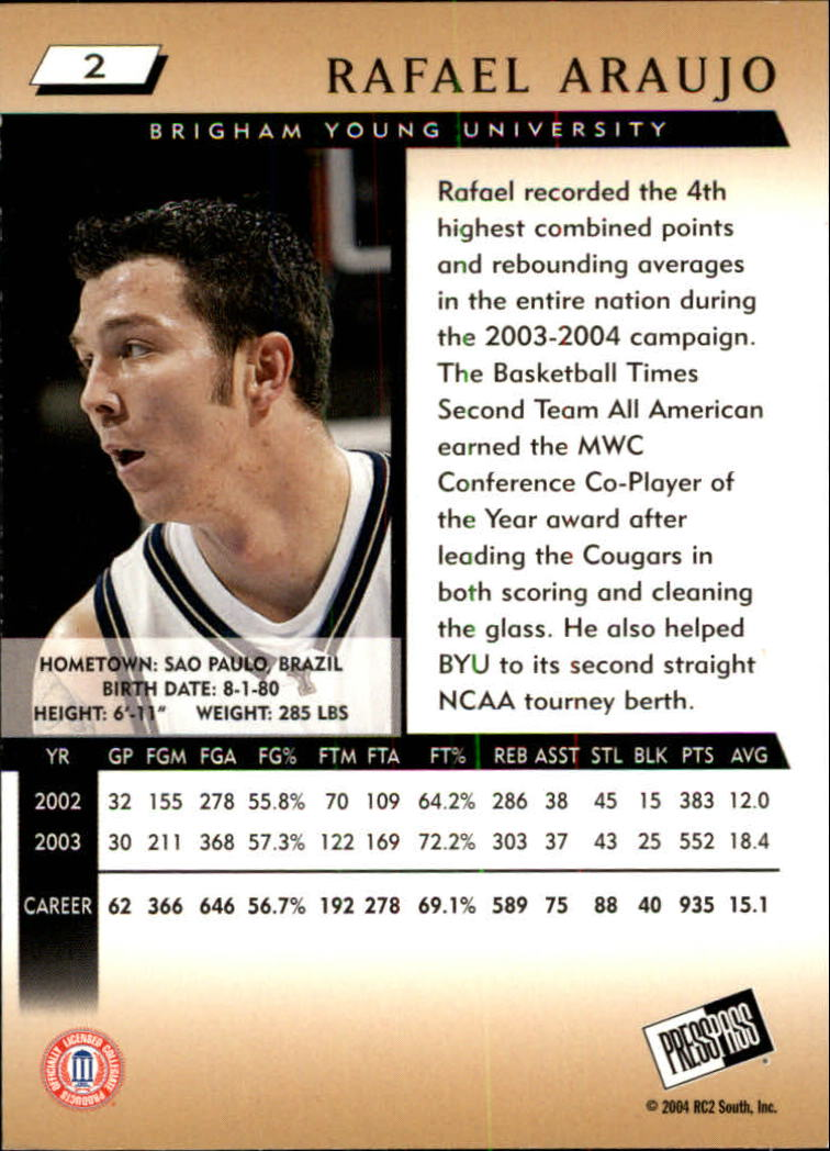 2004 Press Pass #2 Rafael Araujo back image