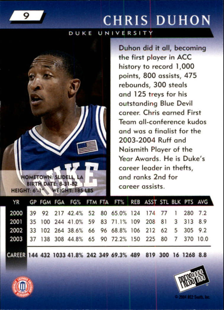 2004 Press Pass #9 Chris Duhon back image