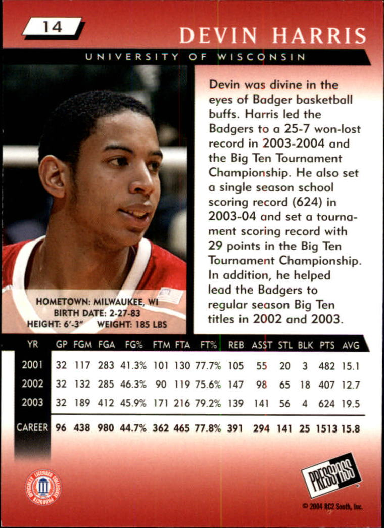 2004 Press Pass #14 Devin Harris back image