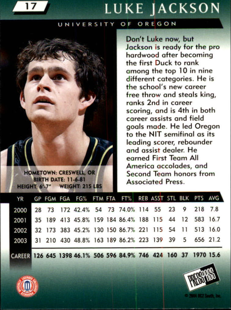 2004 Press Pass #17 Luke Jackson