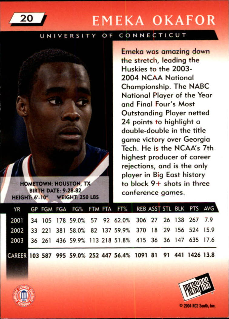 2004 Press Pass #20 Emeka Okafor back image