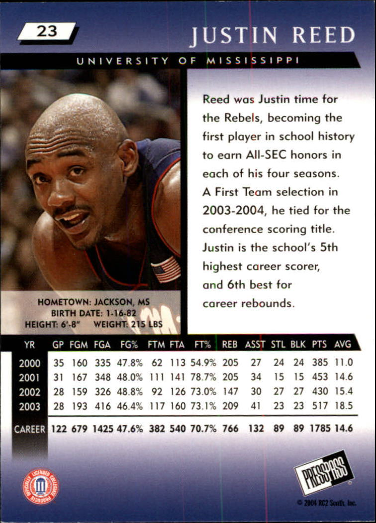 2004 Press Pass #23 Justin Reed back image