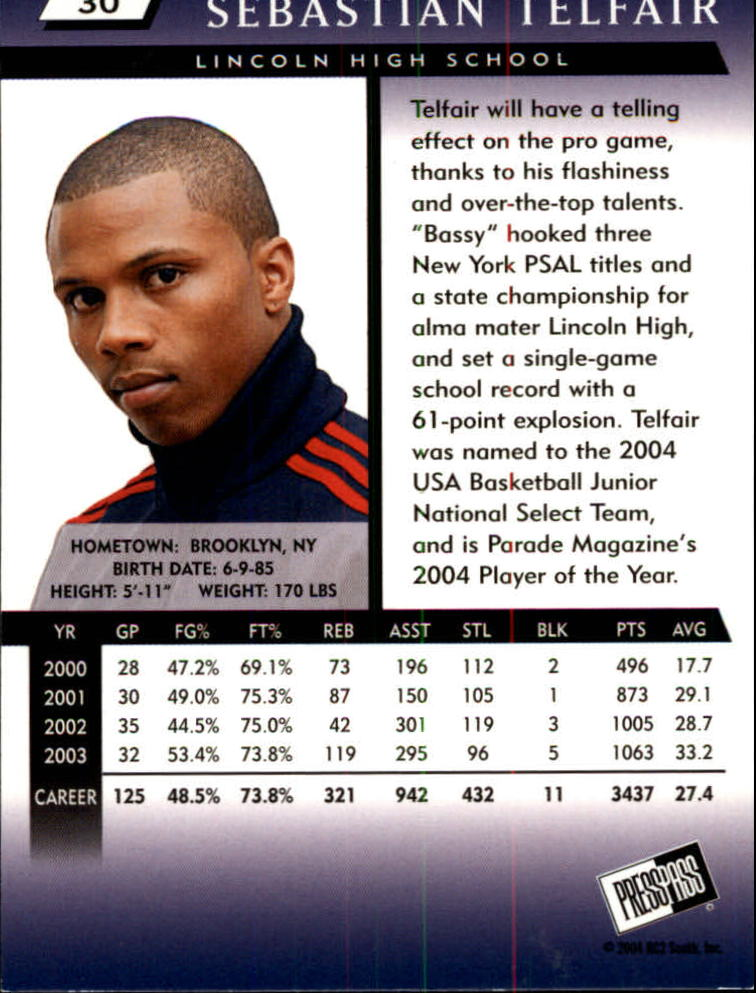 2004 Press Pass #30 Sebastian Telfair back image