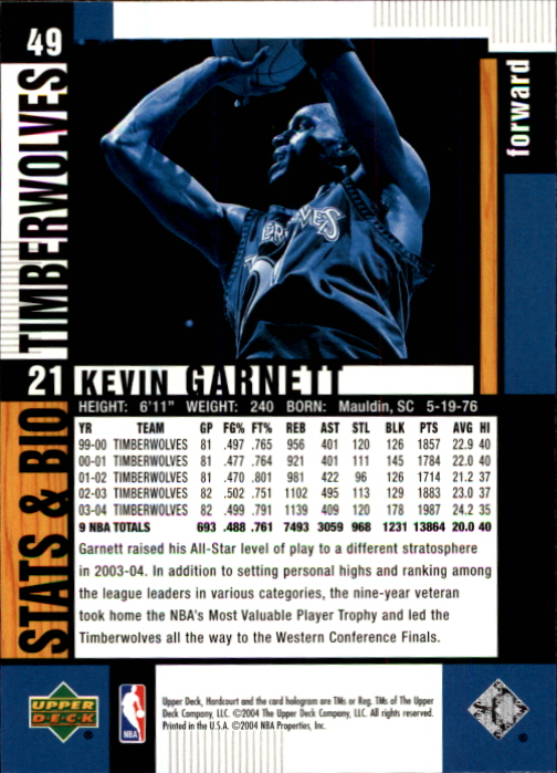2004-05 Upper Deck Hardcourt #49 Kevin Garnett back image