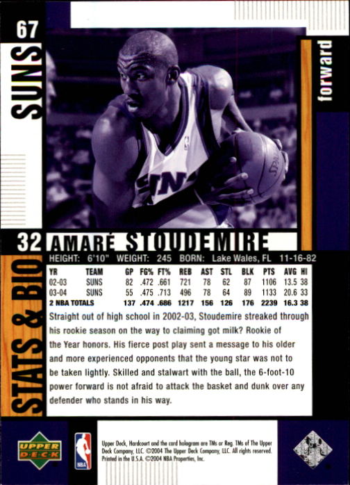 2004-05 Upper Deck Hardcourt #67 Amare Stoudemire back image