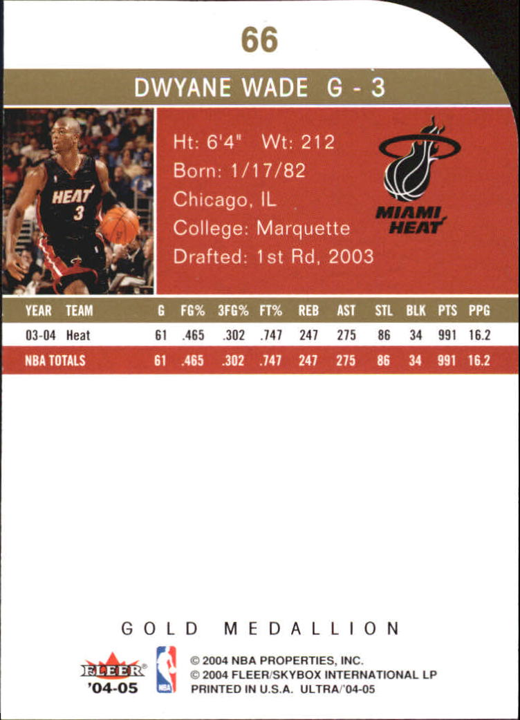 2004-05 Ultra Gold Medallion #66 Dwyane Wade back image