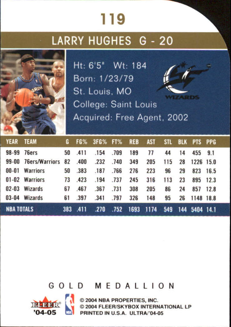 2004-05 Ultra Gold Medallion #119 Larry Hughes back image