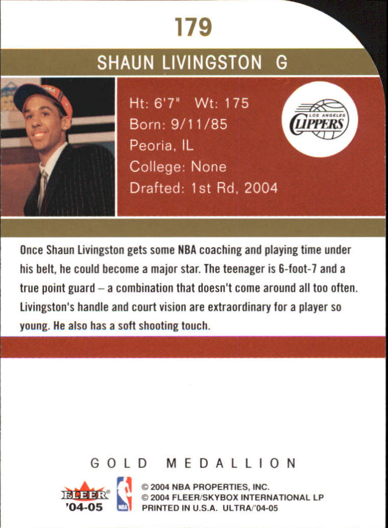 2004-05 Ultra Gold Medallion #179 Shaun Livingston L13 back image