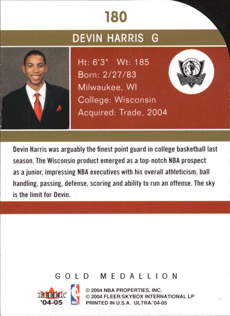 2004-05 Ultra Gold Medallion #180 Devin Harris L13 back image
