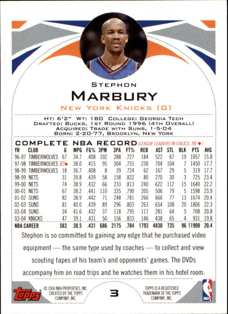2004-05 Topps #3 Stephon Marbury back image