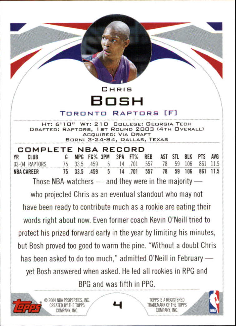 2004-05 Topps #4 Chris Bosh back image
