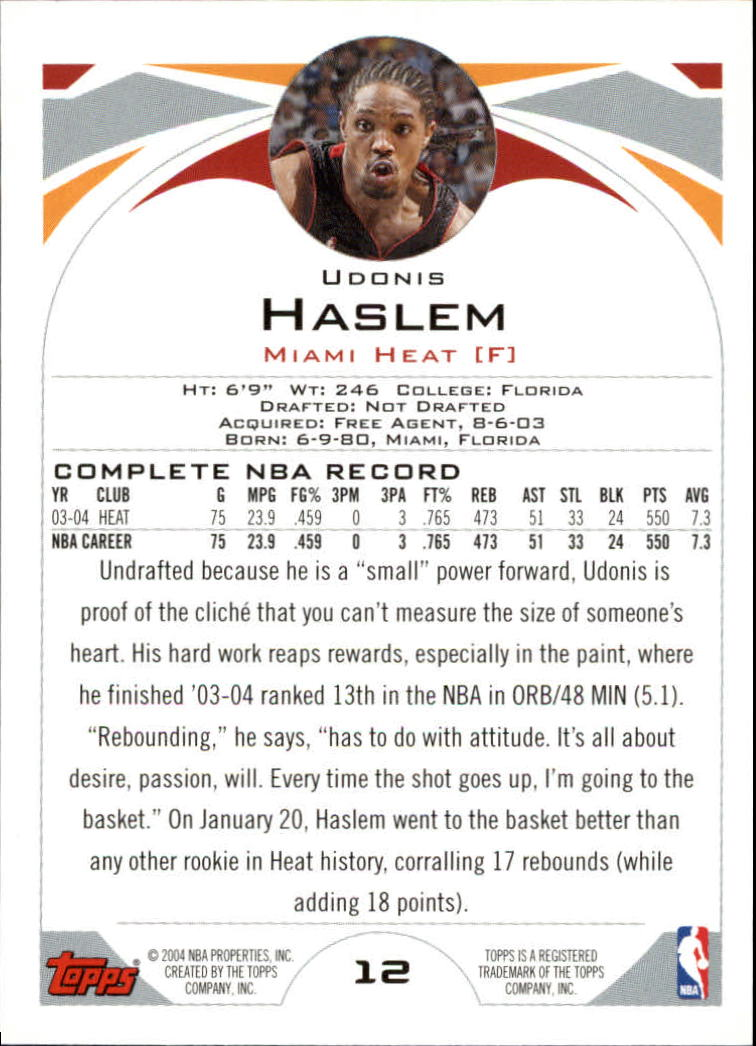 2004-05 Topps #12 Udonis Haslem