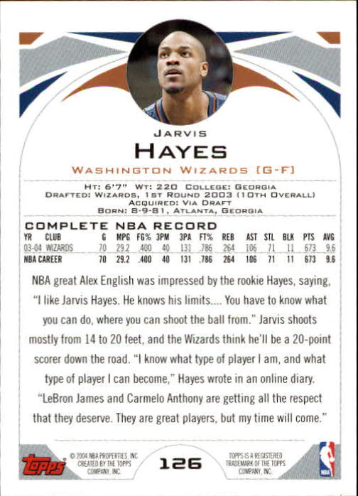 2004-05 Topps #126 Jarvis Hayes back image