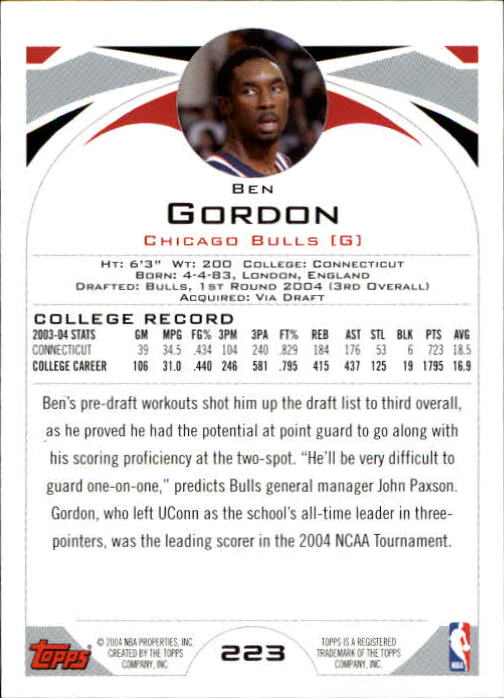 2004-05 Topps #223 Ben Gordon RC back image
