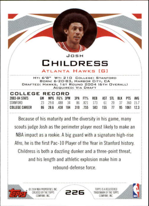 2004-05 Topps #226 Josh Childress RC back image