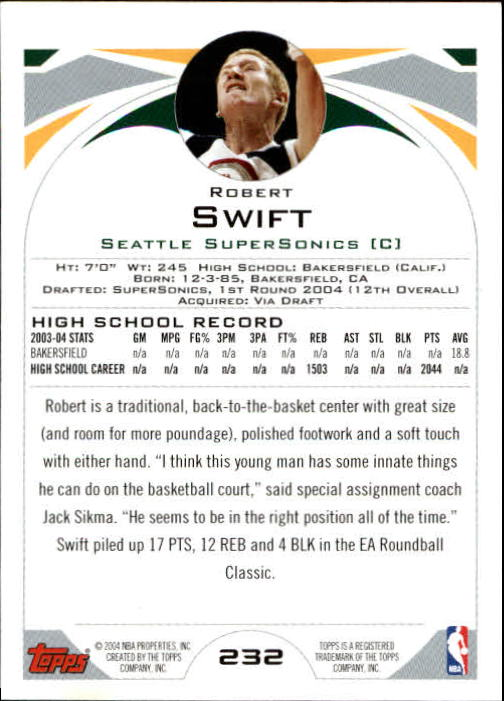 2004-05 Topps #232 Robert Swift RC back image