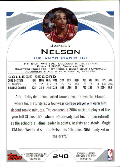 2004-05 Topps #240 Jameer Nelson RC back image