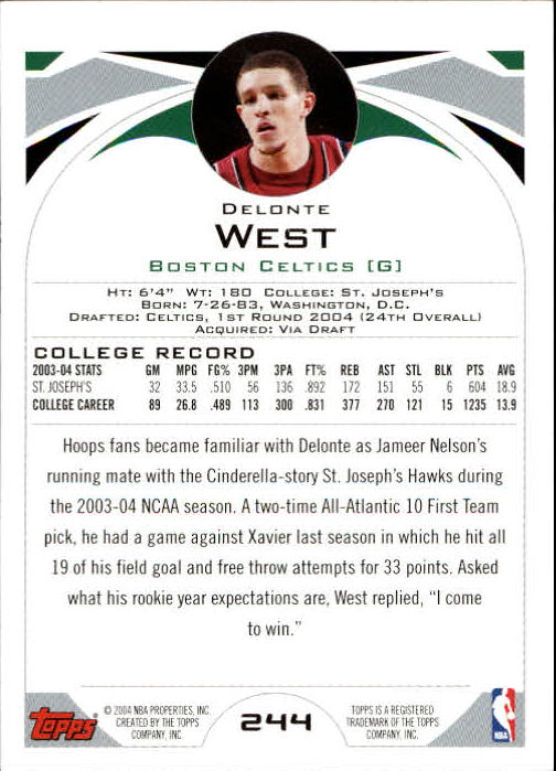 2004-05 Topps #244 Delonte West RC back image
