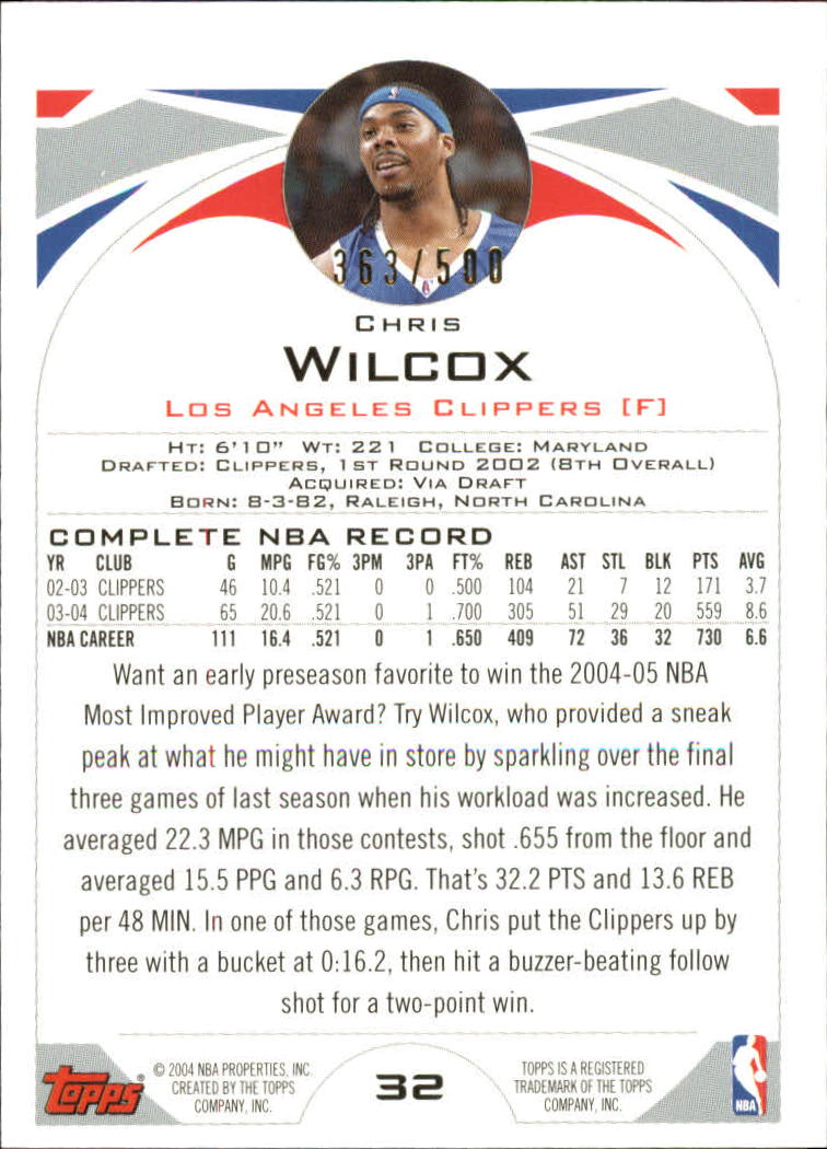 2004-05 Topps Black #32 Chris Wilcox back image