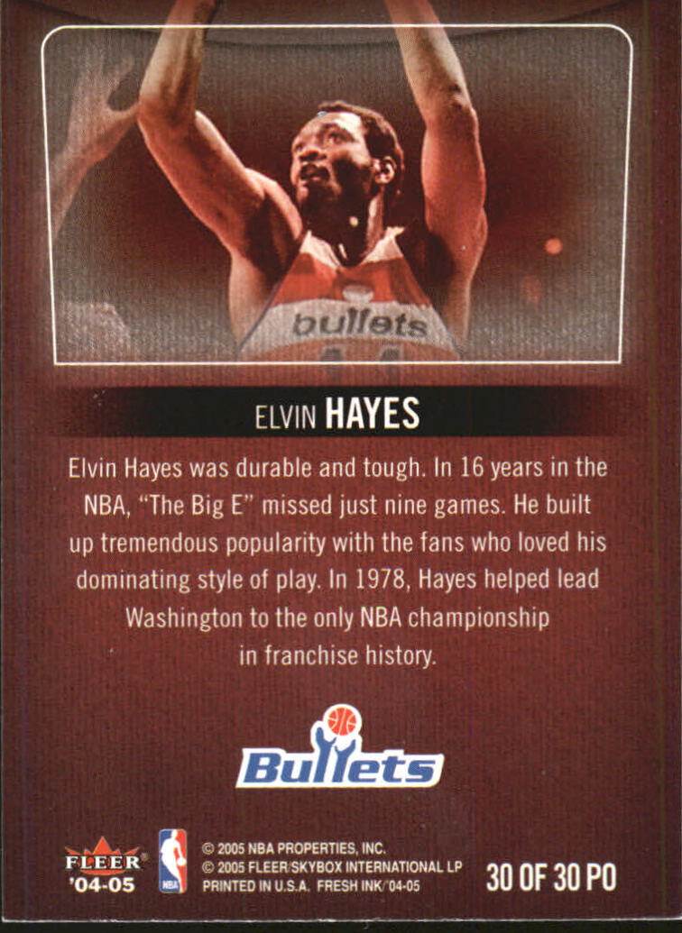 2004-05 SkyBox Fresh Ink Property Of #30 Elvin Hayes back image