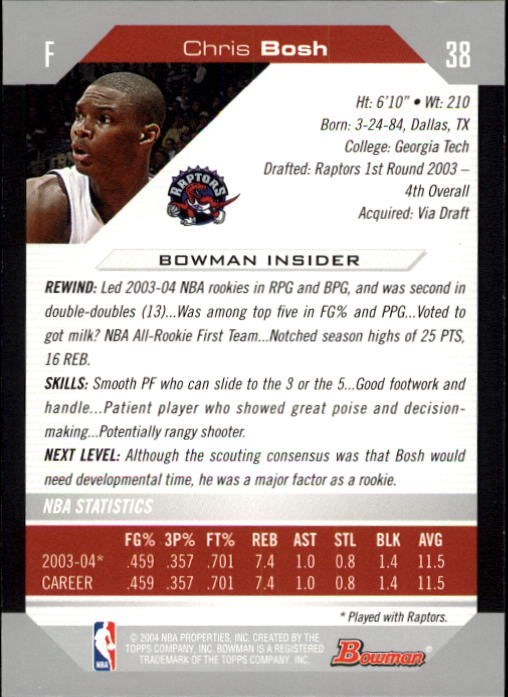 2004-05 Bowman #38 Chris Bosh back image