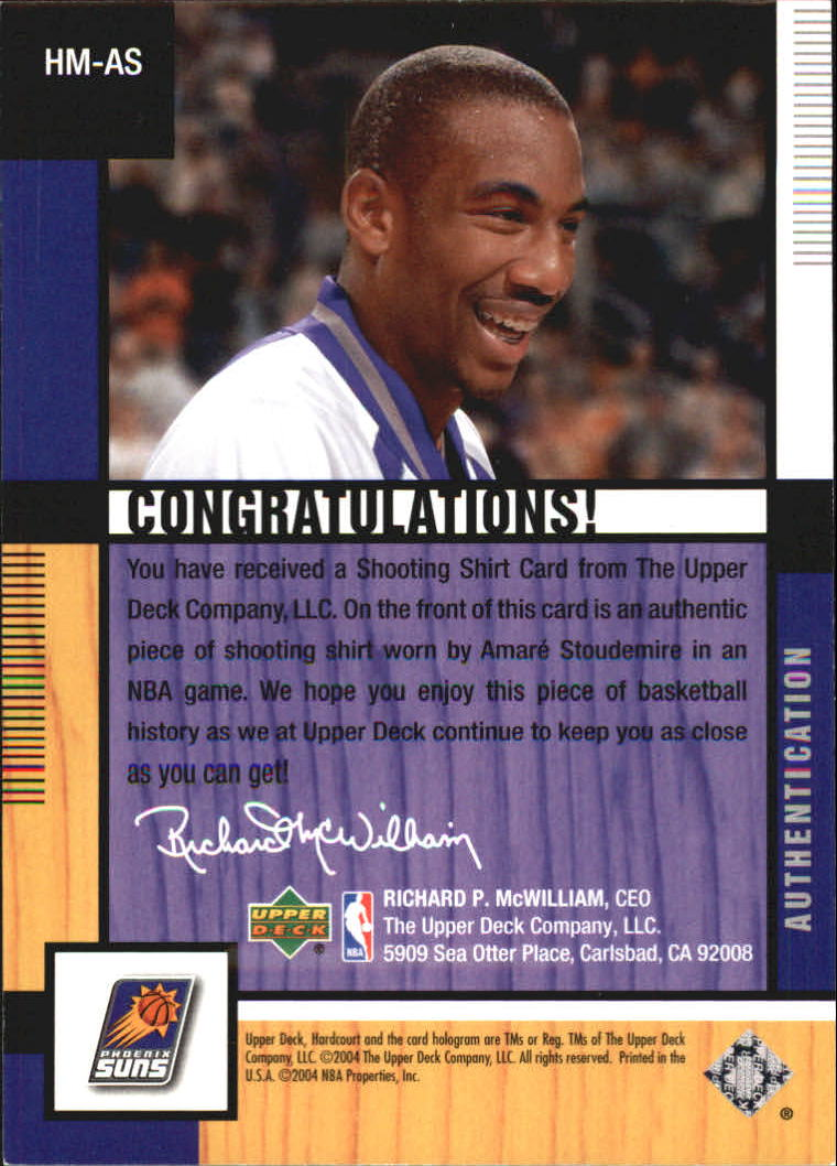 2004-05 Upper Deck Hardcourt Materials #AS Amare Stoudemire back image