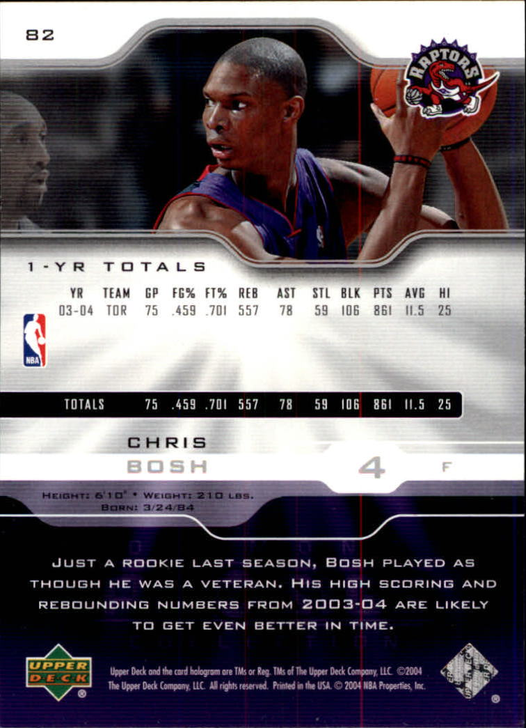 2004-05 Upper Deck Pro Sigs #82 Chris Bosh back image