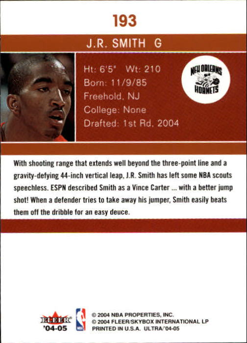 2004-05 Ultra #193 J.R. Smith RC back image