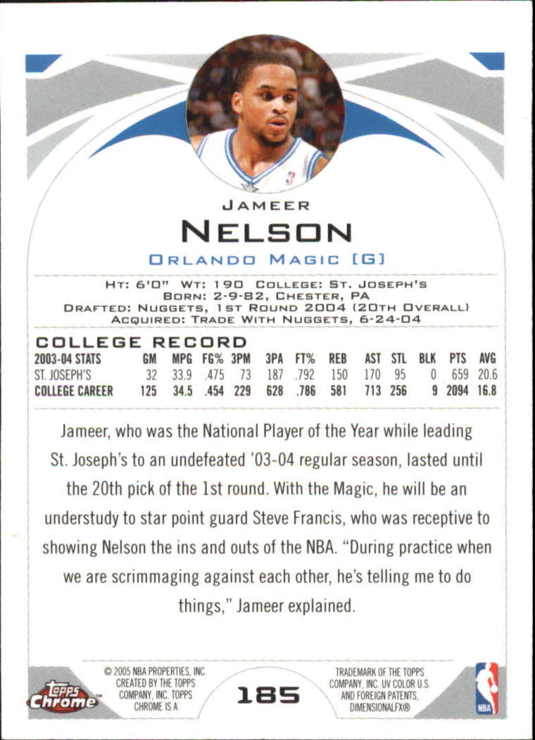 2004-05 Topps Chrome #185 Jameer Nelson RC back image