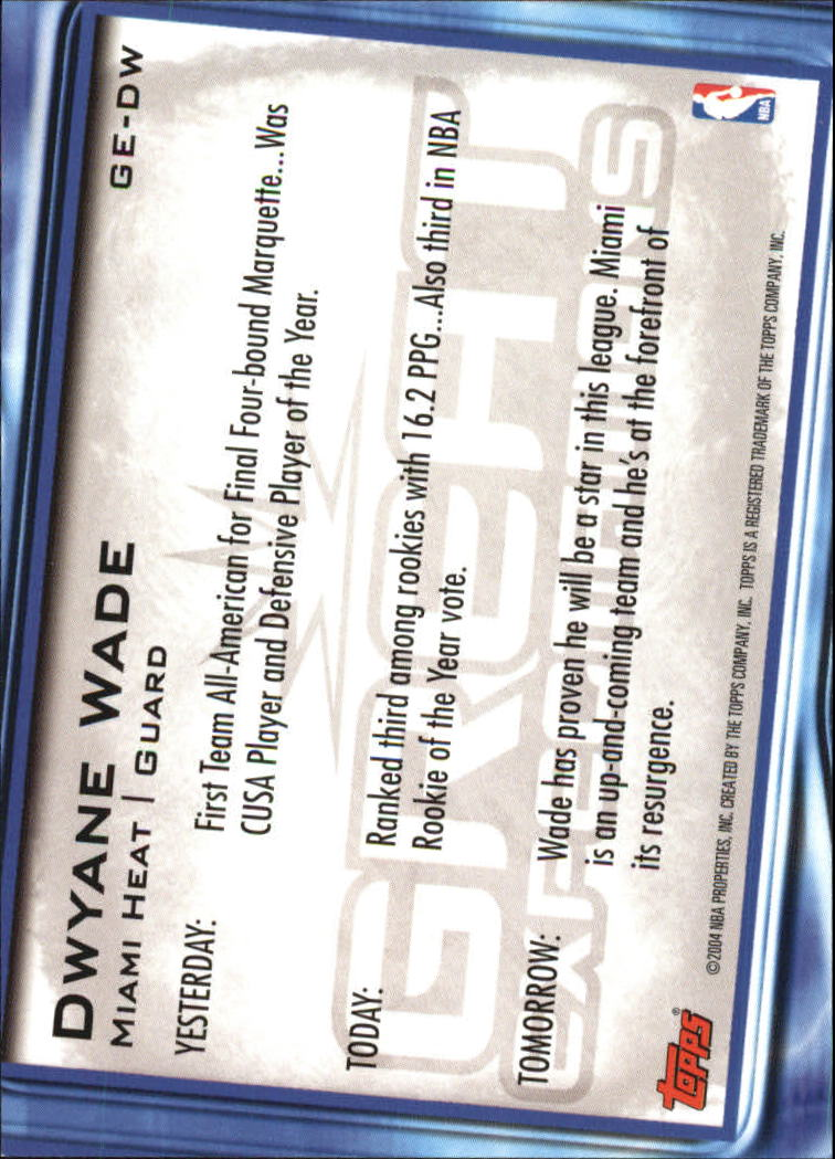 2004-05 Topps Great Expectations #DW Dwyane Wade back image