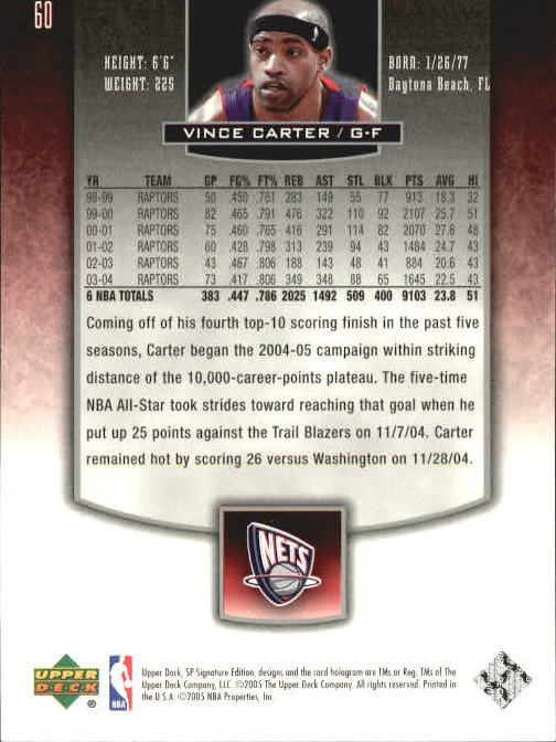 2004-05 SP Signature Edition #60 Vince Carter back image
