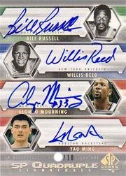 2004-05 SP Authentic Signatures Quad #RRMM Bill Russell/Willis Reed/Alonzo Mourning/Yao Ming