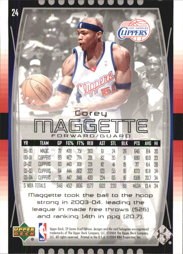 2004-05 SP Game Used #24 Corey Maggette back image