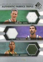 2004-05 SP Authentic Fabrics Triple #BSA Larry Bird/Peja Stojakovic/Ray Allen