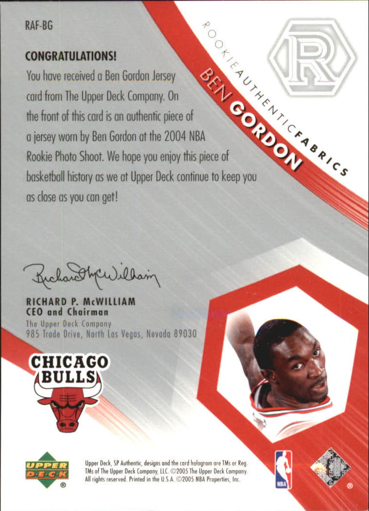 2004-05 SP Authentic Fabrics Rookies #BG Ben Gordon
