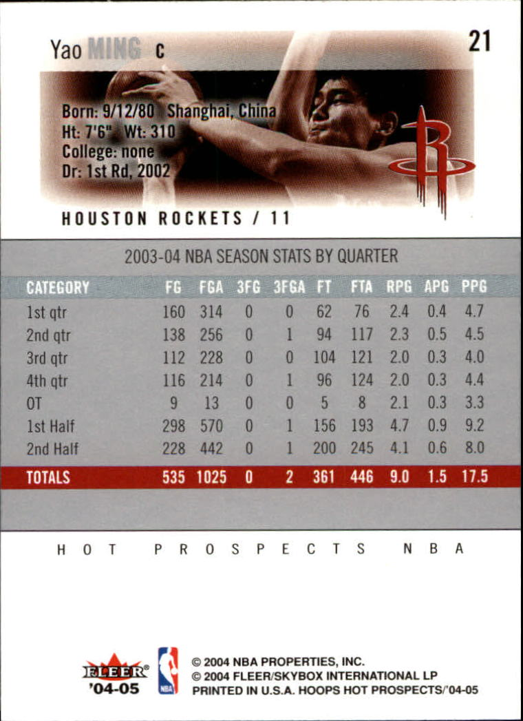 2004-05 Hoops Hot Prospects #21 Yao Ming back image