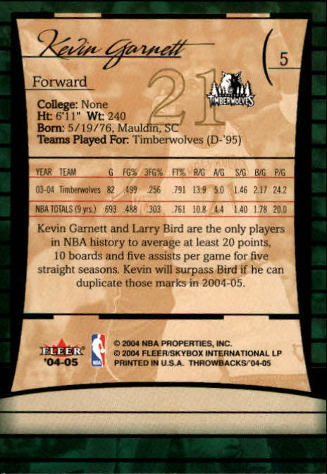 2004-05 Fleer Throwbacks #5 Kevin Garnett back image